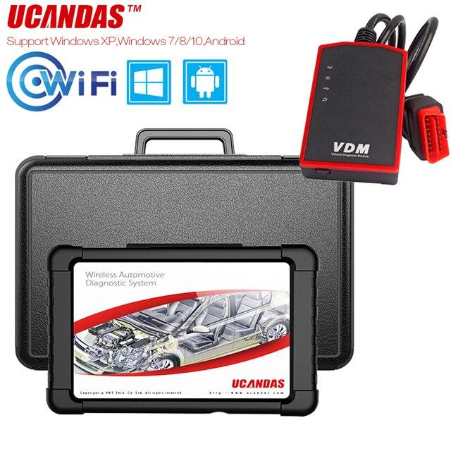 UCANDAS VDM OBD2 tarayıcı profesyonel tam sistem Obd 2 otomotiv tarayıcı WIFI çoklu dil araba teşhis aracı ücretsiz güncelleme