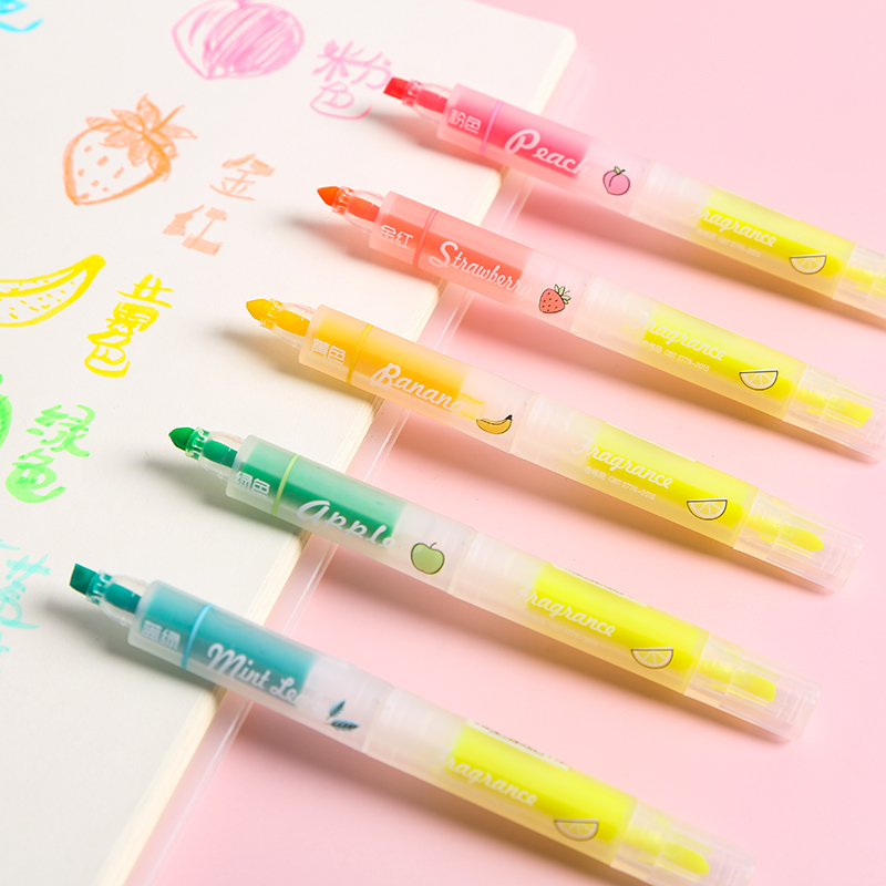 8pcs Fruit Smell Color Highlighter Pen Set Transparent Window Dual-side Writing Marker Liner Pen Stationery Office School A6798
