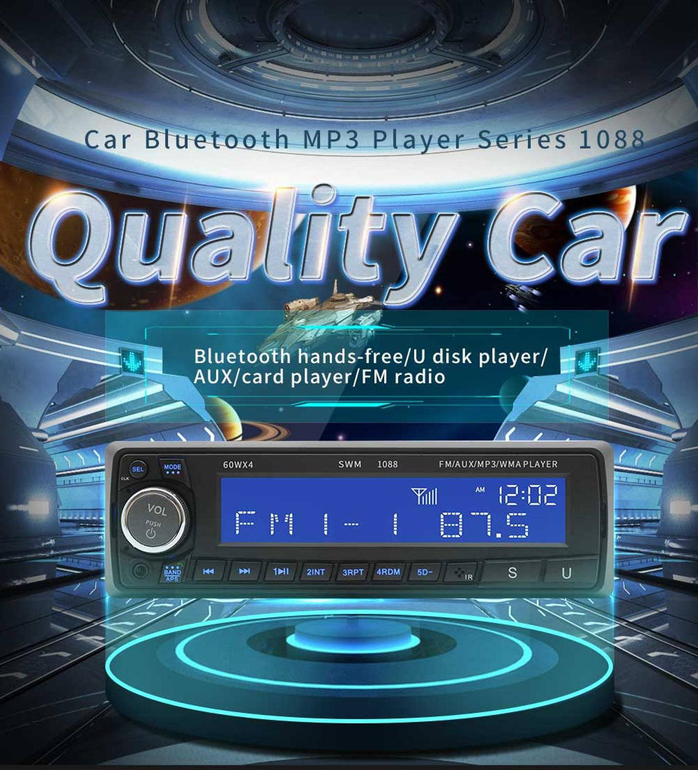 SWM 1088 Car MP3 Player FM Radio BT AUX Remote Control   Autoradio Multimedia  audio  Stereo MP5 Bluetooth USB|Car Radios| |  - title=