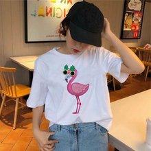 Футболка с принтом фламинго женская футболка коротким рукавом