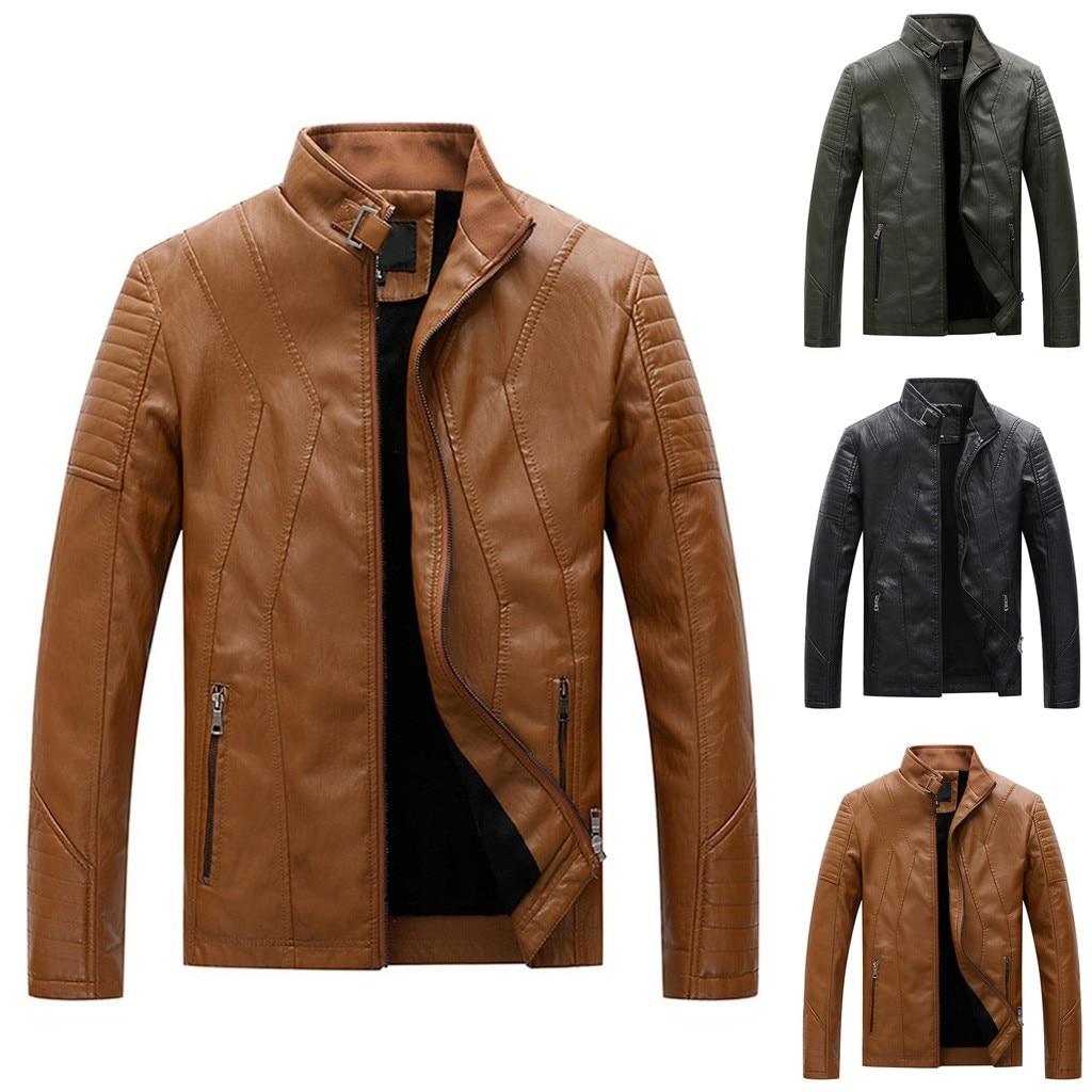 Men's Leather Jacket Autumn Winter кожаная куртка мужская Jaqueta De Couro Masculino Biker Motorcycle Zipper Long Sleeve Coat #3