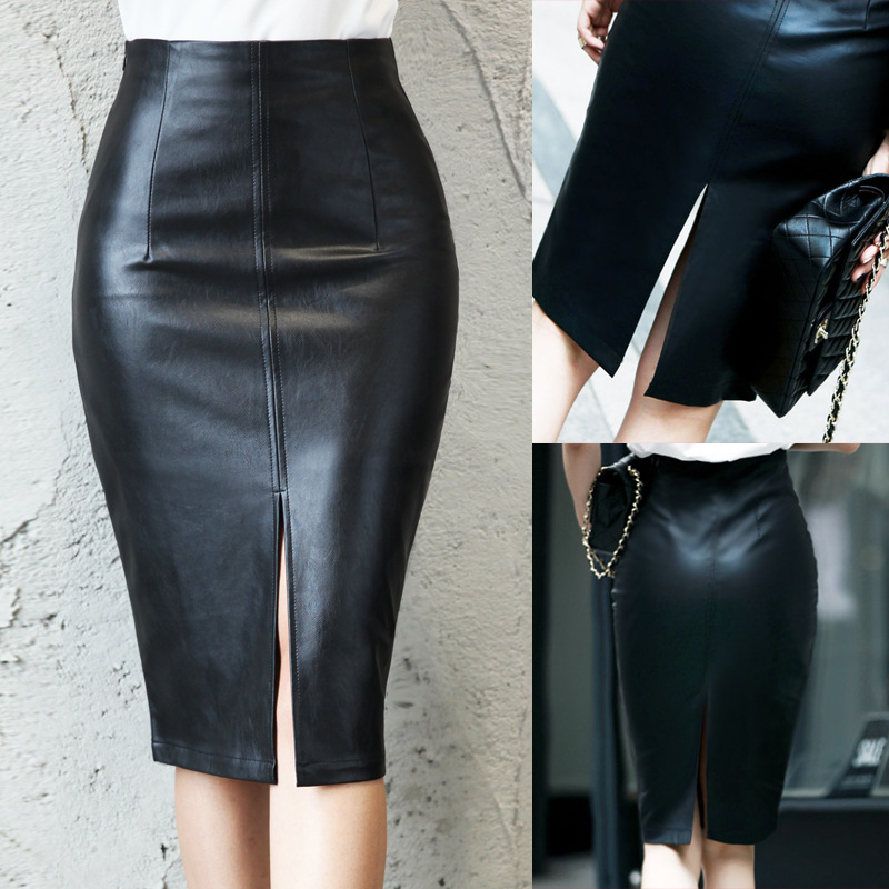 5XL Plus Size Skirts Women PU Leather Skirt Autumn Winter Package Hip Sexy Split Front Pencil Skirt New Casual Mid Waist Skirts