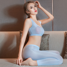 Vest Pencil-Pants Open-Crotch Fitness Transparent See-Through Women Erotic-Costume Bedroom