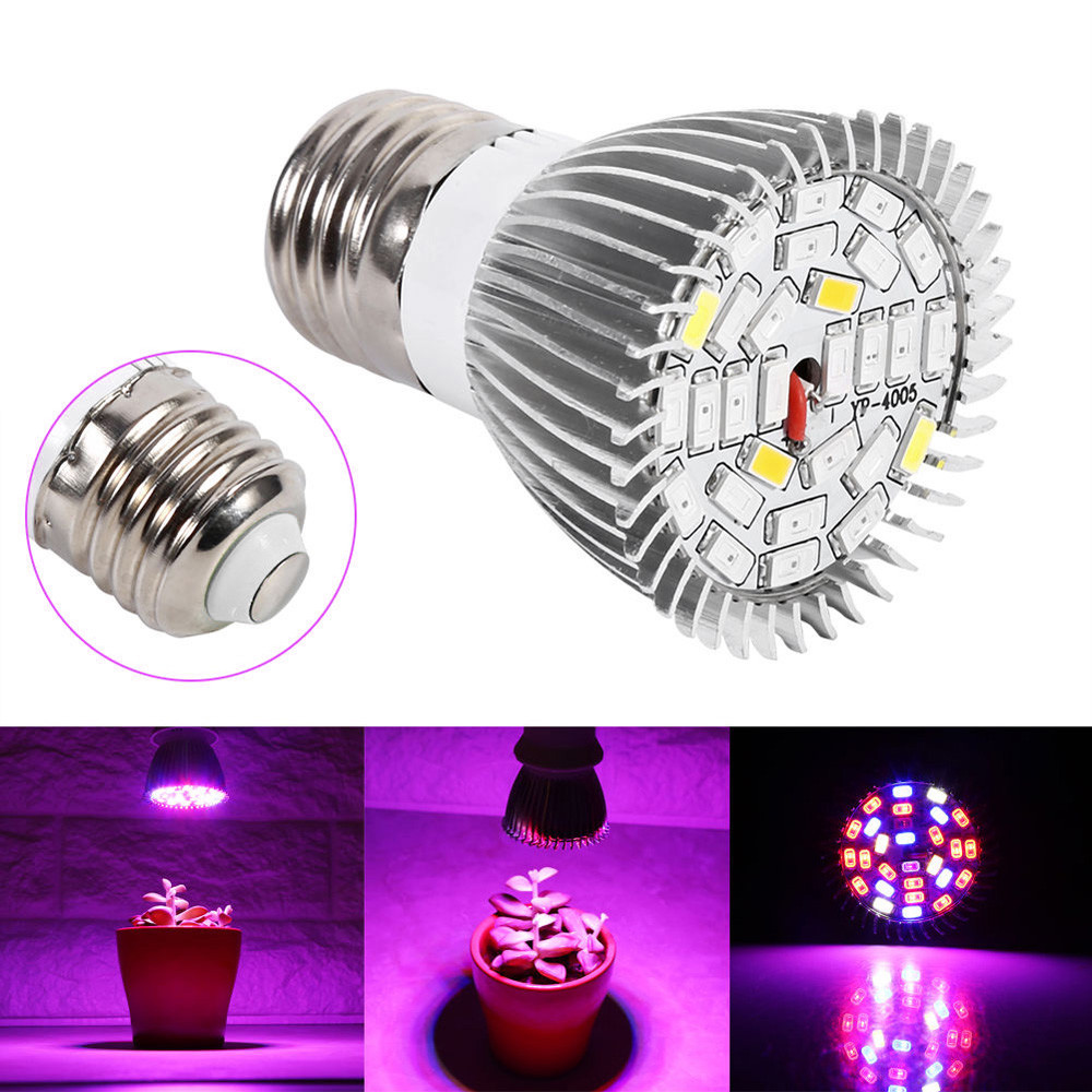 Growlamp Grow Light Full Spectrum 28W E27 LED Flower Seed Plants GrowLamp For Plants Flowers Greenhouse Flower Seeds Growlamp