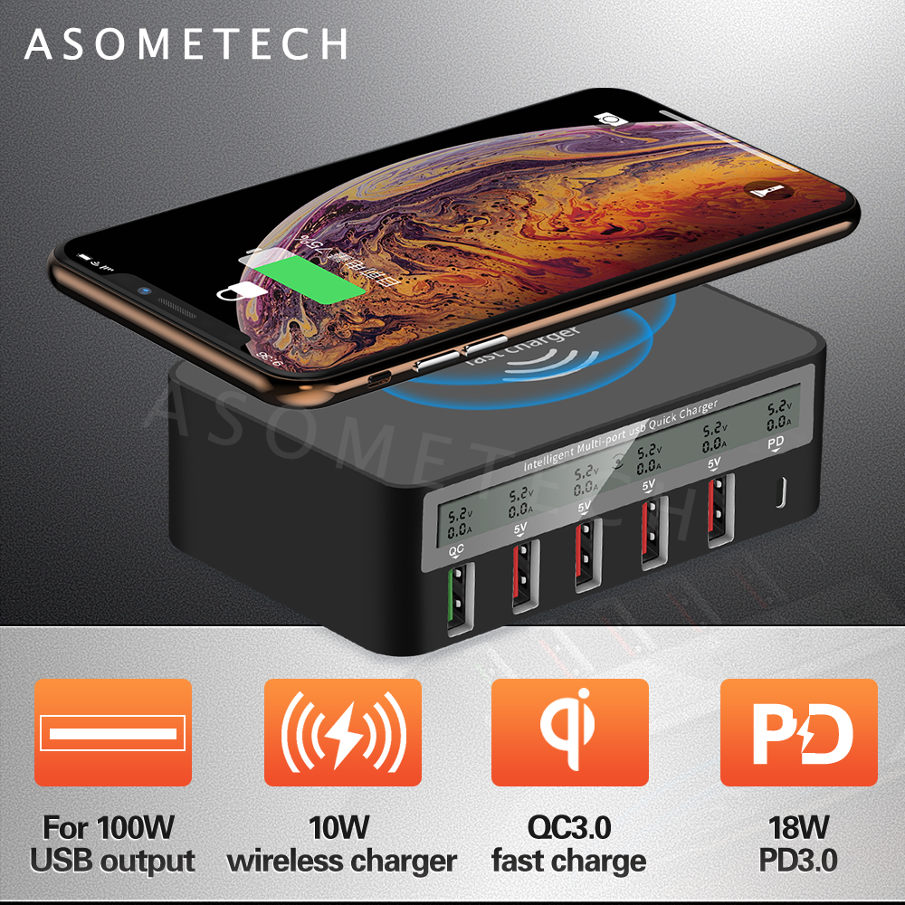 100W Quick Charge 3.0 USB Charger Fast Charging Station PD Charger For <font><b>iPhone</b></font> 11 Tablet Phone <font><b>QI</b></font> Wireless Charger Adapter HUB image