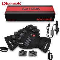 KUTOOK Winter Heated Gloves USB Rechargeable Cycling Motorcycle Skiing Gloves Waterproof Thermal Men Women Sport MTB Bike Gloves