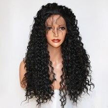 פנטזיה יופי 180% Denstiy Glueless מראש קטף תחרה מול סינטטי שיער פאות פאה מתולתלת חום Resistatn סיבי עם תינוק שיער