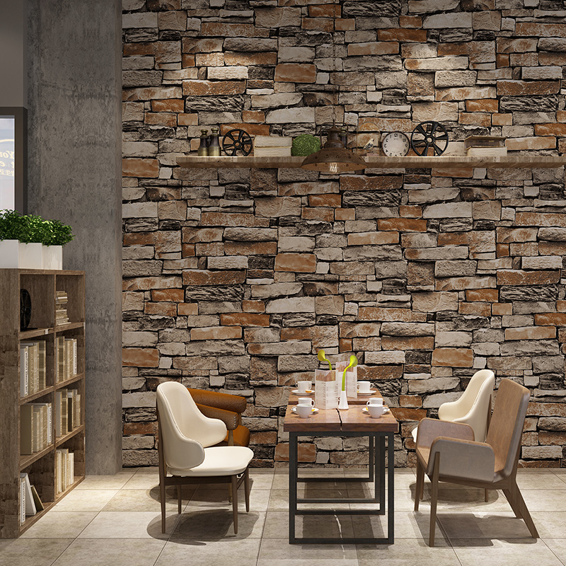 Cheng Shuo Retro 3D Vintage Stone Pattern Wallpaper Chinese Style Restaurant Coffee Shop Library Tea House Background Wall