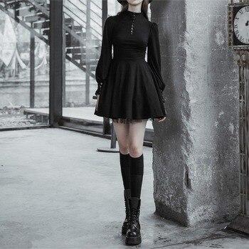 QWEEK Black Gothic Dress Women Style Goth Bandage Mini Harajuku Punk Long Sleeve Lace-up Mesh 2021