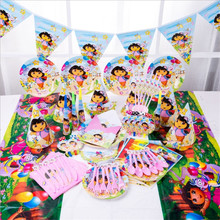 107pcs Dora the Explorer Theme Kids Birthday Party Supplies Disposable Tableware Paper Cup Plates Napkins Tablecloth Baby Shower