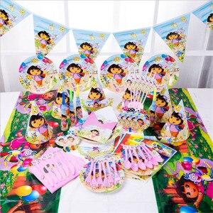 Image 1 - Vaisselle jetable sur le thème Dora lexploratrice, 107 pièces, serviettes, assiettes, gobelets, nappes, gobelets en papier, fête prénatale