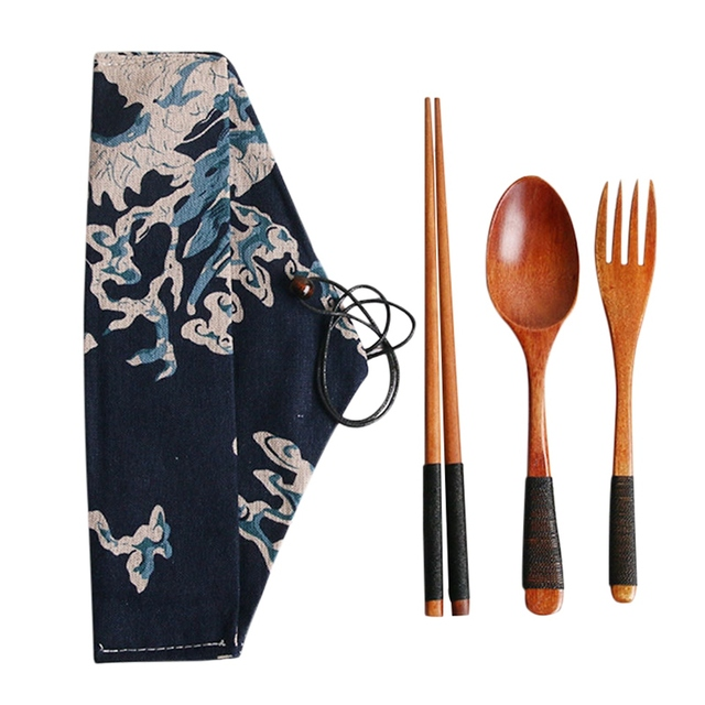4pcs/set Kitchen Utensil with Cloth Bag Bamboo Reusable Portable Wooden Cutlery Set Spoon Fork chopsticks for Travel Outdoor 3