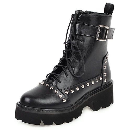 Gdgydh Sexy Rivet Military Boots Women Lace Up Black Leather Ankle Boots Mid Heel Goth Style Short Boots for Autumn High Quality 5
