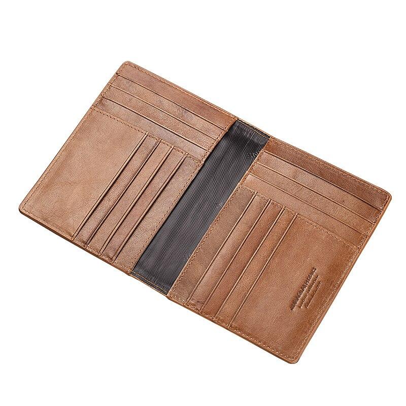 Genuine Leather Men's Vintage Passport Holder Multi Card Slots Holder Airline Ticket Wallet Multifunction Coin Purse Clutch Bag