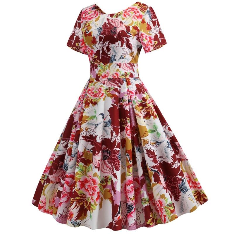 Summer Floral Print Elegant A-line Party Dress Women Slim White Short Sleeve Swing Pin up Vintage Dresses Plus Size Robe Femme 75