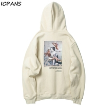 ICPANS Winter Fleece Print Hoodies Mens Cotton Sweatshirts Funny Angels Cat Hip Hop Pullover Hooded Streetwear 2019 oversize