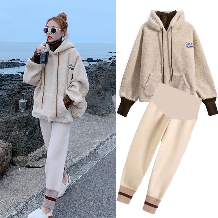 Maternity Autumn And Winter Clothing Suit Korean Version Of The Pregnant Women Hoodies + Woolen Pregnant Abdominal Design Pants