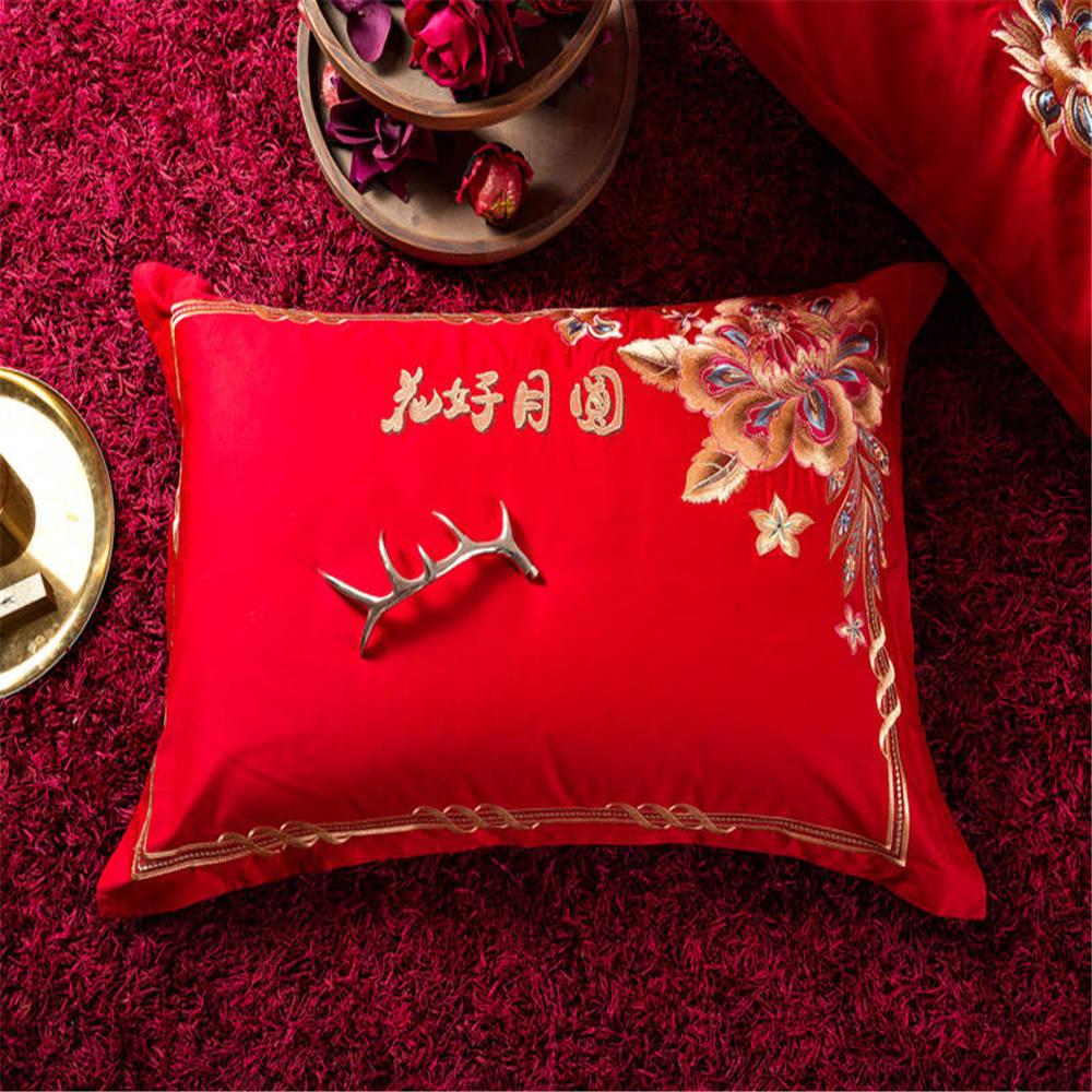 2019 красный фон с наилучшими пожеланиями свадебные комплекты постельного белья Высокая распродажа пододеяльник queen/King size 4/6 шт - 4