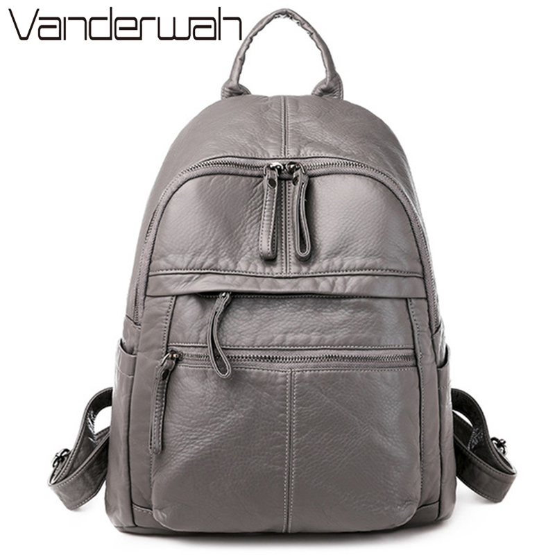 New Women Back Pack Soft Leather Backpack For Teenage Girls Casual Female Large Sac A Dos Travel Ladies Bagpack Mochila Feminina