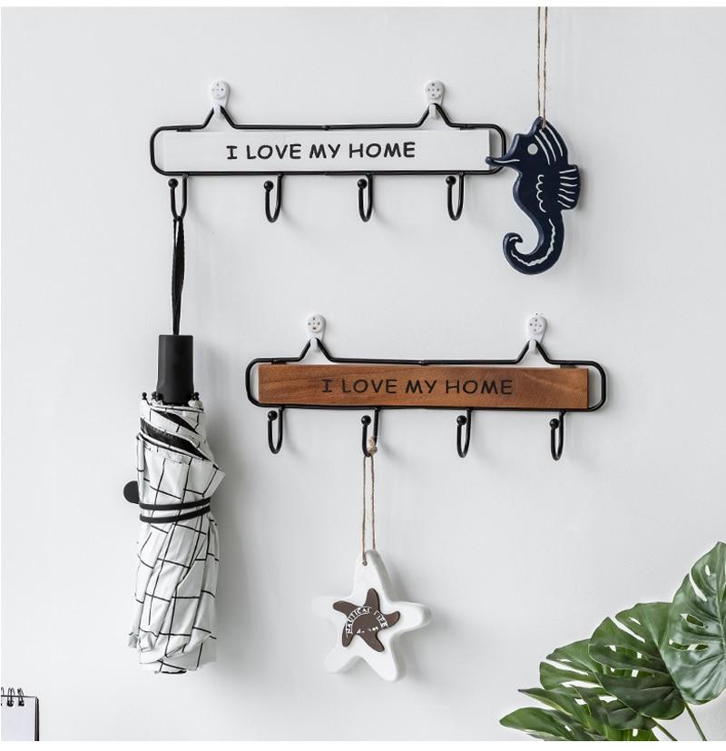 Rack Hooks 3 Size Modern Silplicity Style Wooden Wall-mounted Shelving Hook Storage Rack Home Decorative Hook Key Hook Coat Rack