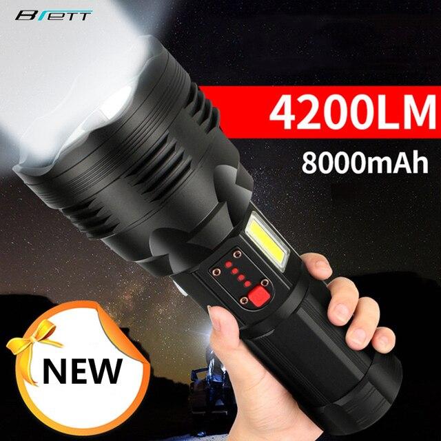 Chiến Thuật Đèn Pin CREE XHP70.2 Sạc Dài Bắn 4200 Lumens 8000 MAh Pin Lithium Dung Lượng Lớn Mạnh Đèn Pin LED