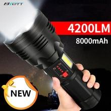 Тактический фонарик Cree xhp70.2, перезаряжаемый светодиодный фонарь большой емкости 4200 люмен 8000 мАч