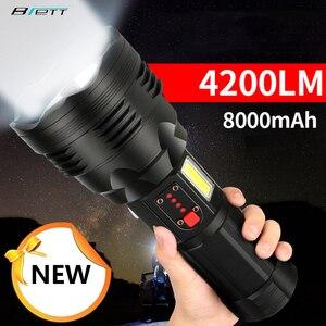 Lanterna tática cree xhp70.2 recarregável tiro longo 4200 lumens 8000 mah bateria de lítio de grande capacidade poderosa led tocha