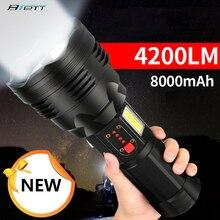 Linterna táctica Cree xhp70.2, recargable, tiro largo, 4200 lúmenes, 8000 mAh, gran capacidad, batería de litio, potente antorcha led