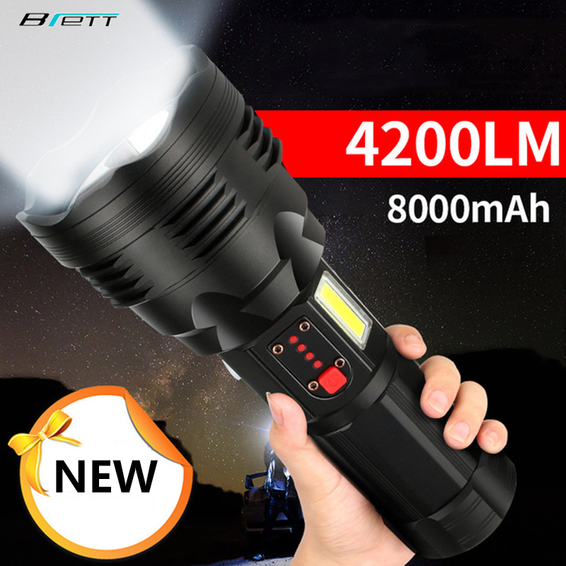 Tactical Flashlight Cree Xhp70.2 Rechargeable Long Shot 4200 Lumens 8000 MAh Large Capacity Lithium Battery Powerful Led Torch