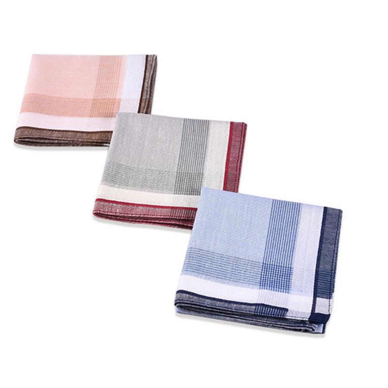 3Pcs/lot 38*38cm Soft Cotton Handkerchief Classic Check Striped Pattern Comfort Vintage Square Handy Pocket Women Men