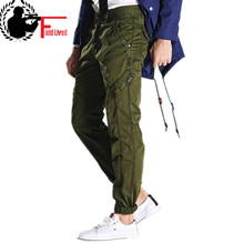 Exército verde calças militares dos homens ajuste fino trabalho carga calças tático casual em linha reta longas calças de carga masculino com bolsos