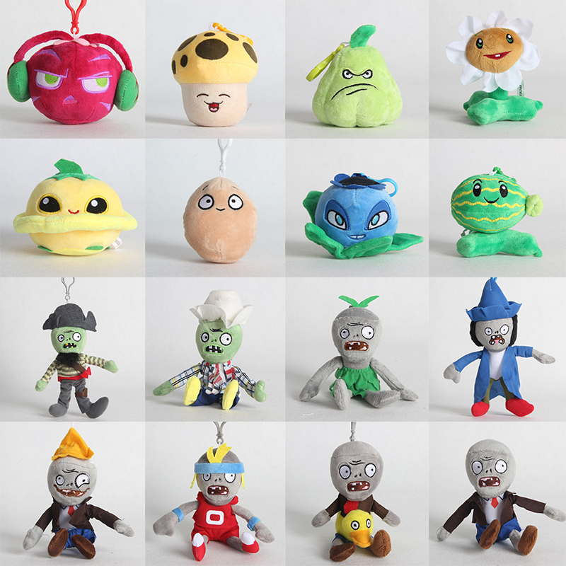 18 Styles Plants Vs Zombies Plush Pendant Keychain Toys Plantas Vs Zombies PVZ Plush Soft Stuffed Toys Doll For Kids 10-18 CM