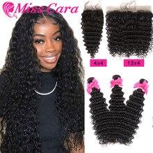 Miss Cara – mèches péruviennes Remy avec Closure, cheveux naturels, Deep Wave, Lace Frontal Transparent, 100%
