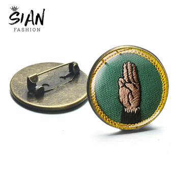 SIAN 2019 Girl Scout Brooch Vintage Languages Cadette Merit Badges Glass Crystal Jackets Pin High Grade Kids Child Perfect Gift image