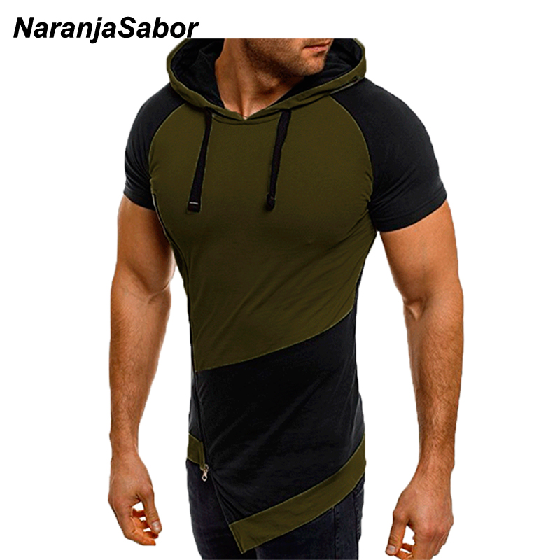 NaranjaSabor Men Short Sleeve Hoodie 2020 Spring Summer Male Stitching Color Sweatshirt Fashion Shirt Mens Brand Clothing N637