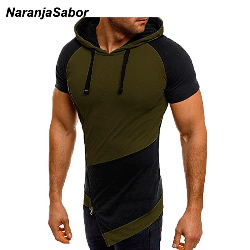 NaranjaSabor Men Short Sleeve Hoodie 2020 Spring Summer Male Stitching Color Sweatshirt Fashion Shirt Mens Brand Clothing N637