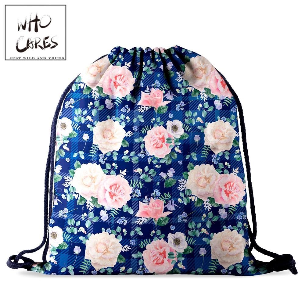 Who Cares Women Backpack Gym Drawstring Bag Flower 3D Printing Fashion Gift Storage Bag Travel Bag Portable Outdoor Rucksack