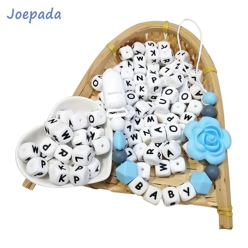 Joepada Teething-Beads Necklace Alphabet Silicone Toy Making Bpa-Free English for Jewelry