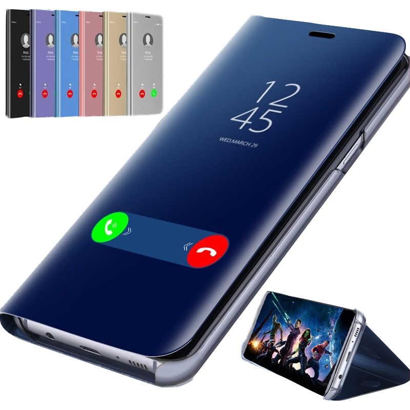 Görünüm akıllı ayna Samsung kılıfı A3 A6 A7 A8 A9 2018 Flip telefon kapak için Samsung A10 A20 A30 A40 A50 a70 Case arka Coque etui