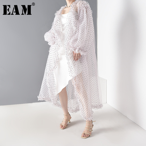 [EAM] Women Dot Mesh Perspective Long Big Size Blouse New Long Sleeve Loose Fit Shirt Fashion Tide Spring Summer 2020 JF39411