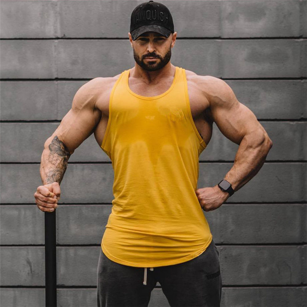 Solid Bodybuilding Tank Tops Men Gym Fitness Workout Cotton Sleeveless Shirt Clothing Male Summer Casual Stringer Singlet Vest