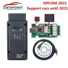 Opcom2021 opcom v1.95 com pic18f458 ftdi ft232rq chip para opel carro scanner diagnóstico apoio carros até 2021 profissão 170823