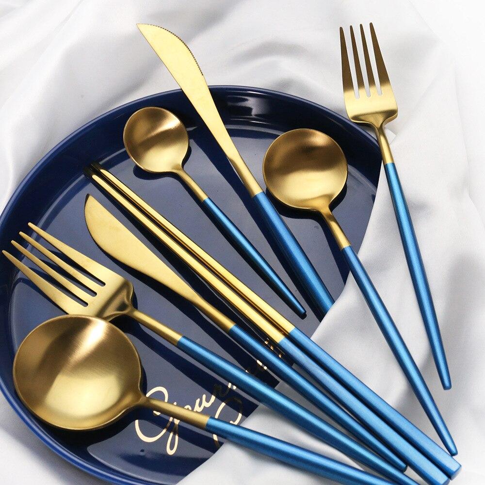 Синий набор столовых приборов золотистого 304 Нержавеющаясталь столовая посуда матовая столовые приборы для ужина нож для фруктов, вилка Л...
