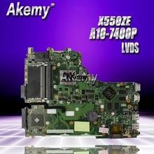 Akemy X550ZE Per For Asus VM590Z X550ZE scheda madre del computer portatile X550/X750 A10-7400P LVDS lavoro di Test al 100%