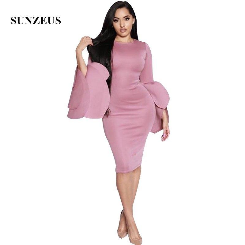 Pétales manches longues robe De Cocktail longueur genou robes De soirée simples pour les femmes Vestidos De Coctail Cortos