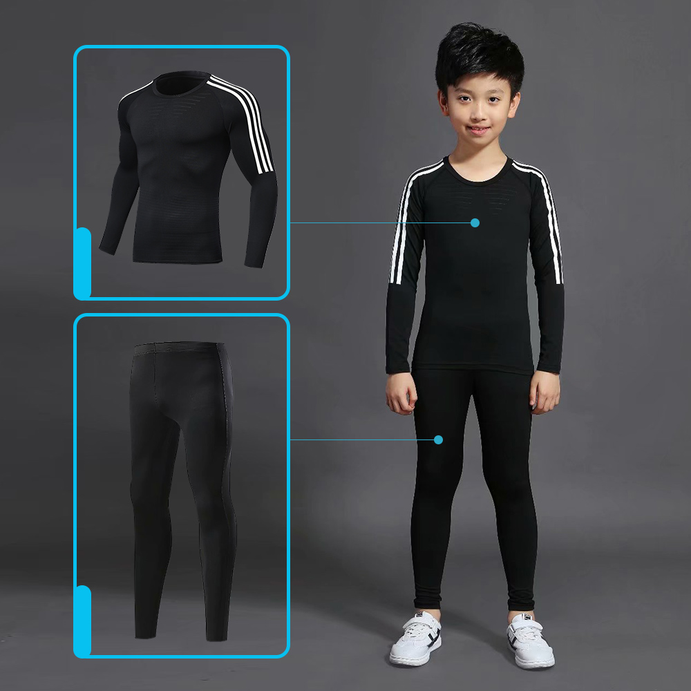 Children's Sports Suit 2 Sets Of Sportswear Jogging Children Training Suit Compression Thermal Underwear Football Clothing