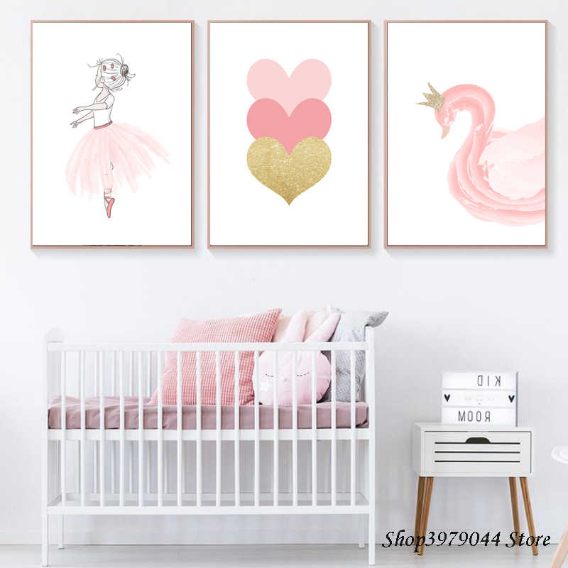 Baby Room Pink Girl Poster Nordic Cartoon Swan Canvas Painting Heart Wall Art Print Wall Picture Poster Baby Girl Room Pictures