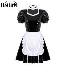 Frauen Maid Sexy Kostüme Rüschen Puff Sleeve Halloween Cosplay Phantasie Kleid mit Schürze Stirnband Femme Abend Parteien Clubwear