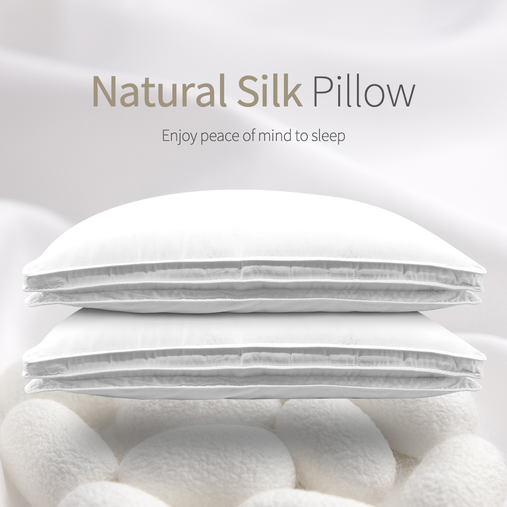 Chinese Natural 100 Silk 1 5kg 1 8kg 2 0kg Pillows Mulberry Pillow Hotel Memory Pillow