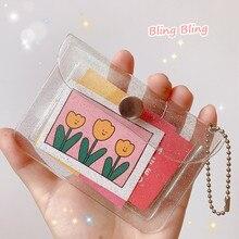 MINKYS Kawaii Bling Bling PVC Card Holder Credit ID Bank Card Bus Card Protective Case Cards Storage Bag Korean Stationery